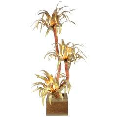 1970s Maison Janssen Large Brass Palm Tree Floor Lamp