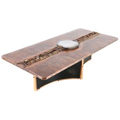 Marc D'haenens Exceptional Coffee Table with Lepidolite Inlay