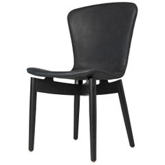 Shell Dining Chair Black Stained Oak Black Anthracite Leather by Mater Design