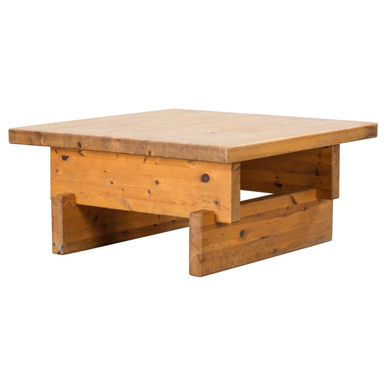 Roland Wilhelmsson, Modernist Coffee Table, Solid Pine, Sweden, 1960s