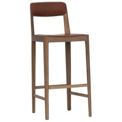 "Linea Barstool White Oak ""White"" with ""Chestnut"" Leather Upholstery"
