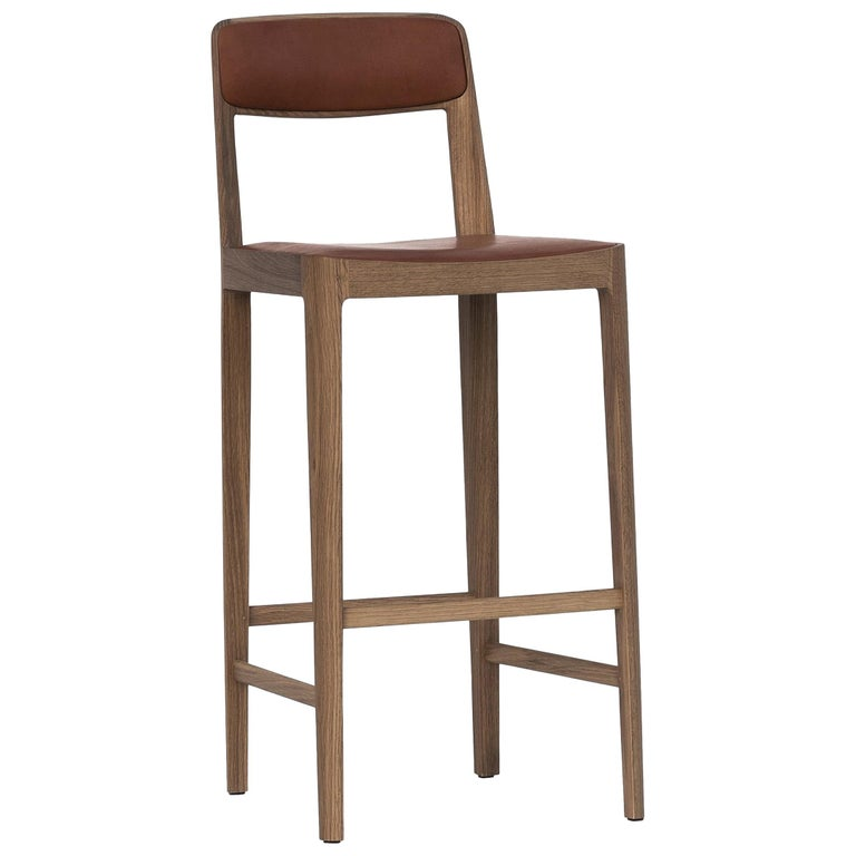 """Linea Barstool White Oak """"White"""" with """"Chestnut"""" Leather Upholstery For Sale"""