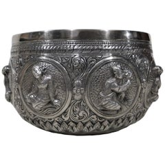 Silver Anglo-Indian Bowl with Eight Figures
