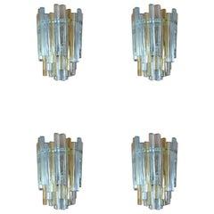 Set of 5 Carlo Scarpa Wall Lamps for Venini, Italian Design, 1960s
