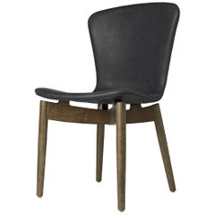 Shell Dining Chair Sirka Grey Stained Oak Dunes Black Leather by Mater Design