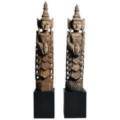 Hand-Carved Teak Wood Blessing Angels