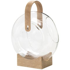 Handle Vase Borosilicate Glass and FSC Certified Oak Wood Handle by Mater Design