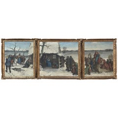 Triptych of Antique Framed Oil Paintings by Robert Carle Depicting Nativity