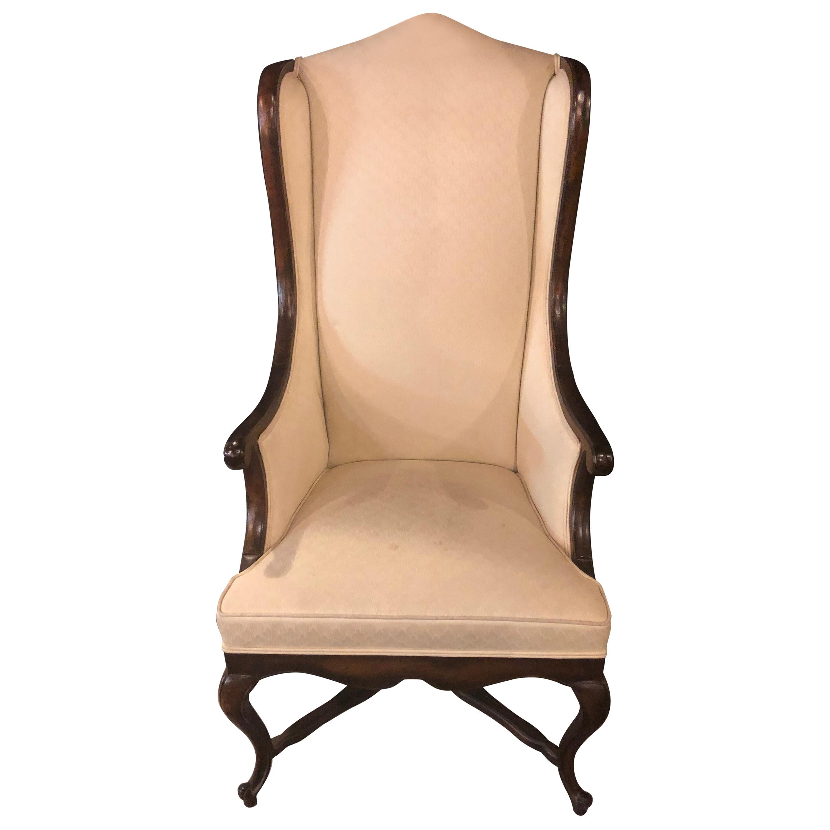 Queen Anne Style Off White Upholstered Wingback Chair For Sale