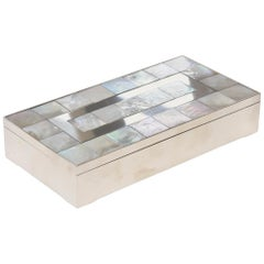 Vintage Mother-of-Pearl, Wood and Nickel Silver Hinged Box