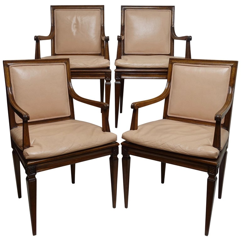Set of Four Neoclassical Style Armchairs, Italian, Late 19th-Early 20th Century For Sale