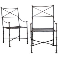 Pair of  Neoclassical Style Brushed Steel Armchairs