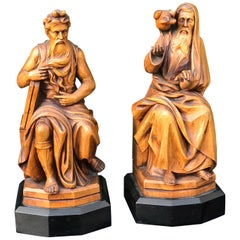 Carved Boxwood Biblical Bookends Moses by Michelangelo & Saint Francis Sculpture