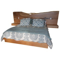 Wall Hung Headboard with Attached Nightstands