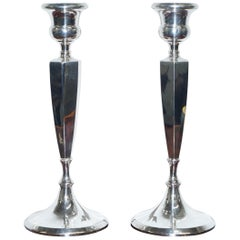 Pair of Lovely Large King George V Sterling Silver Candlesticks Birmingham, 1920