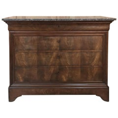 19th Century French Louis Philippe Marble Top Commode