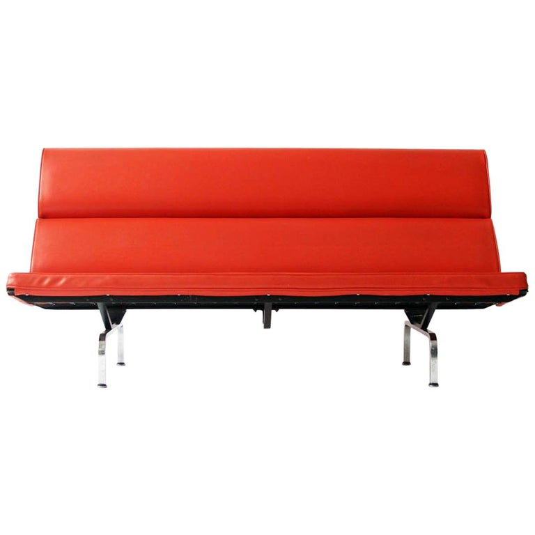 Eames Sofa Compact in Original Fabric For Sale