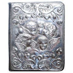 1904 Solid Sterling Silver W J Myatt Cherub Angles Leather Bound Address Book