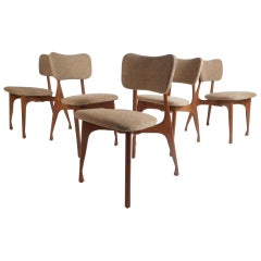 Set of Five Midcentury Finn Juhl Style Dining Chairs