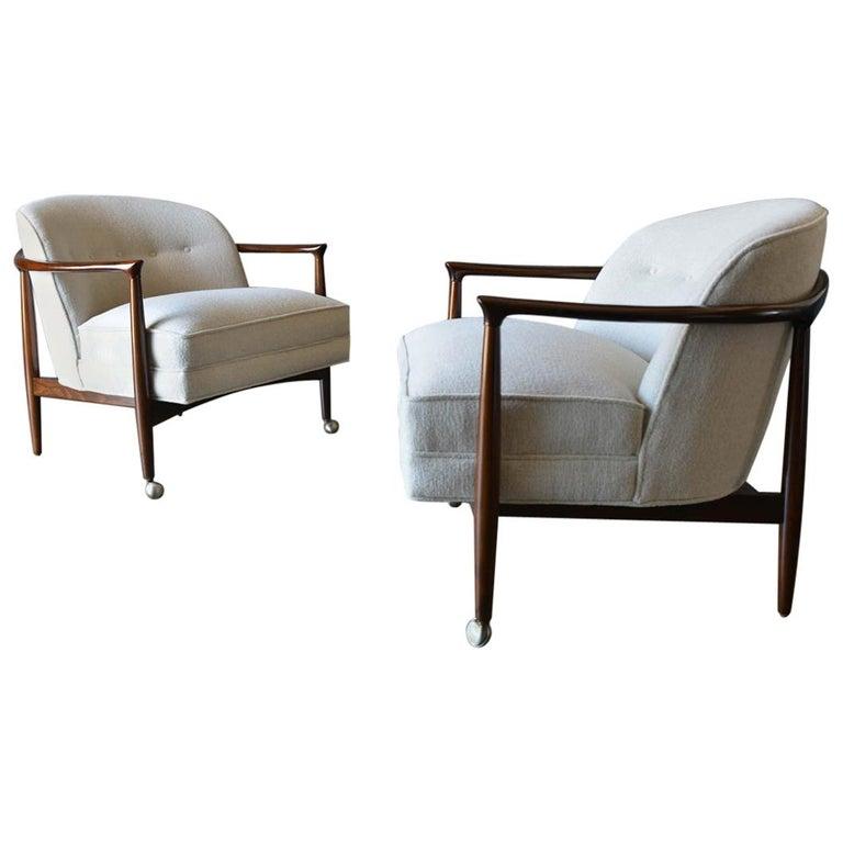 Finn Andersen for Selig Denmark Sculpted Barrel Back Lounge Chairs, circa 1960 For Sale