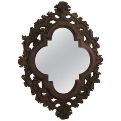 1960s Spanish Carved Wood Mirror