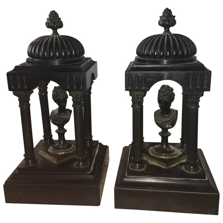 19th Century Marble and Bronze Neoclassical Garnitures For Sale