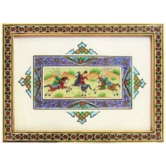 20th Century Hand-Painted Persian Plaque in Khatam Mosaic Frame