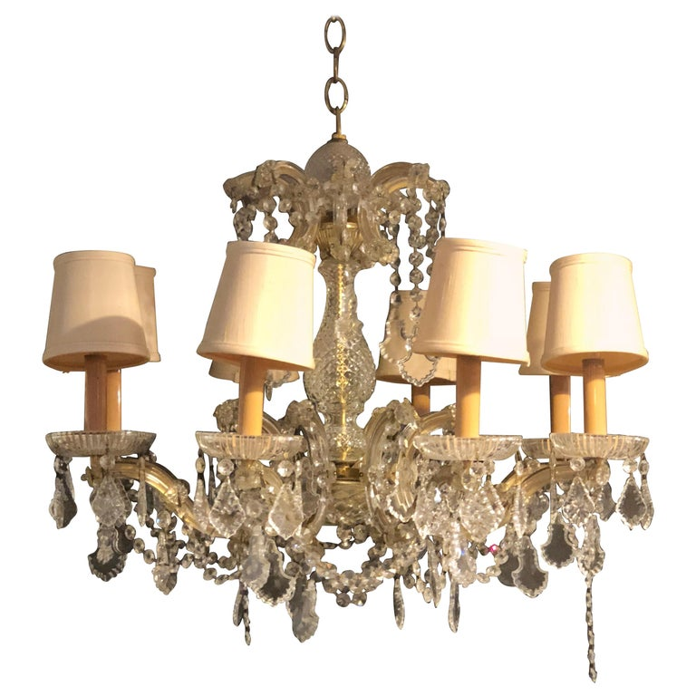 1960s Vintage Crystal Neoclassical Style Chandelier