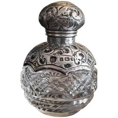 20th Century Sterling Silver and Crystal Perfume Bottle, Birmingham, 1907