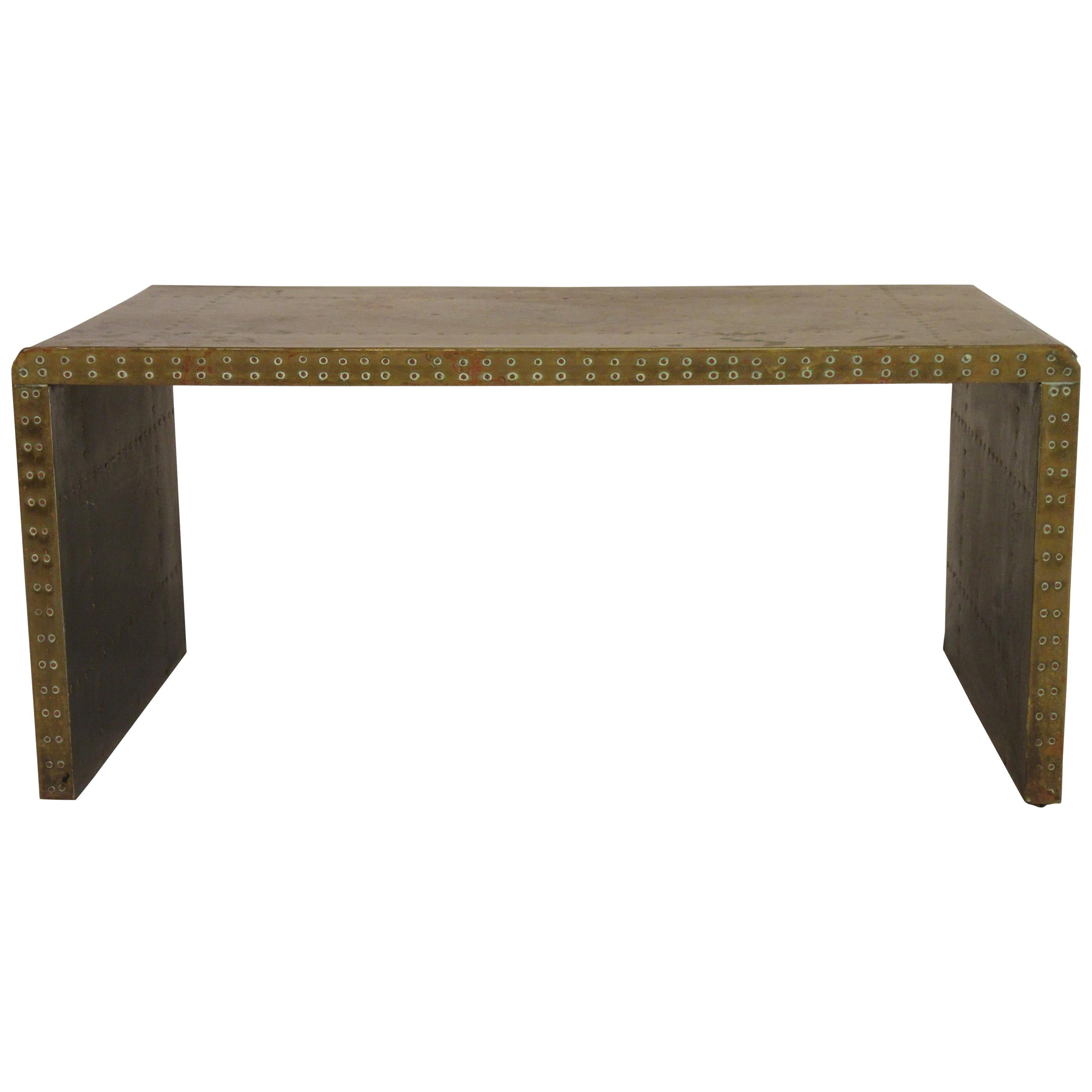 1960s Brass Nailhead Parsons Coffee Table