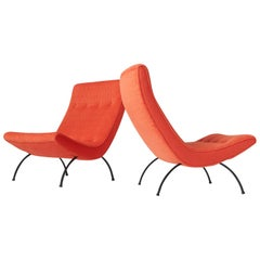Rare High Back Scoop Chairs by Milo Baughman for Thayer Coggin