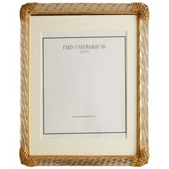 1940s French Murano Glass Frame with Gold Filigree