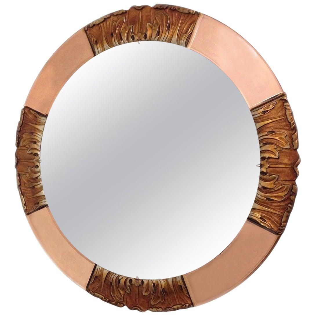 1930s Art Deco Round Rose Tinted Bevelled Edge Mirror