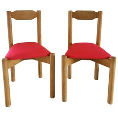 Pair of Minimalist Chairs Attributed to Guillerme & Chambron, France, 1960s