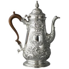 Impressive George II Silver Coffee Pot, London 1751