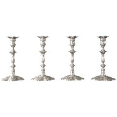 Set of Four Cast Silver Table Candlesticks, London, 1762