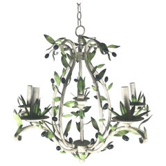 Italian Tole Painted Metal Chandelier, Olive Tree