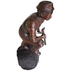 Antique Japanese Meji period Carved wood sculptural  Shop Display figure