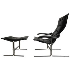 Franco Campo lounge chair & ottoman, two sets in existence ,cert of authenticity