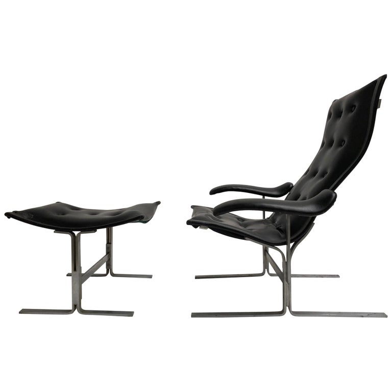 Franco Campo lounge chair & ottoman, two sets in existence ,cert of authenticity For Sale