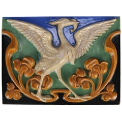 Arts & Crafts Rookwood School Art Pottery Tile, Stylized Swamp with Heron