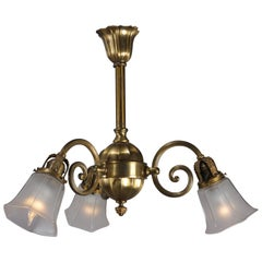 Vintage Brass 3-Light Scroll Arm Branch Chandelier, 20th Century