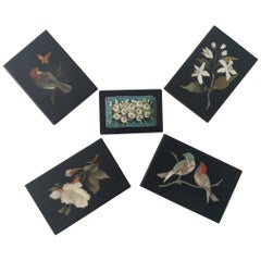5-Piece of Paperweights Pietra Dura and Micro Mosaic