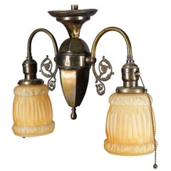 Antique Brass & Satin Glass 2-Light Scroll & Foliate Drop Chandelier, circa 1920