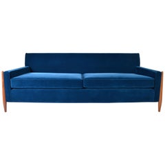 Sculptural Sofa by Jules Heumann in Midnight Blue Lustrous Velvet