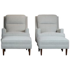 Pair of Mid- Century Club Chairs & Ottoman