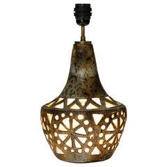 Sculptural Ceramic Lamp with 2 Lights Signed, circa 1960
