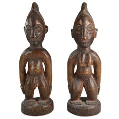 African Tribal Art Fine  Pair of Yoruba Ibeji Figures Gbongan