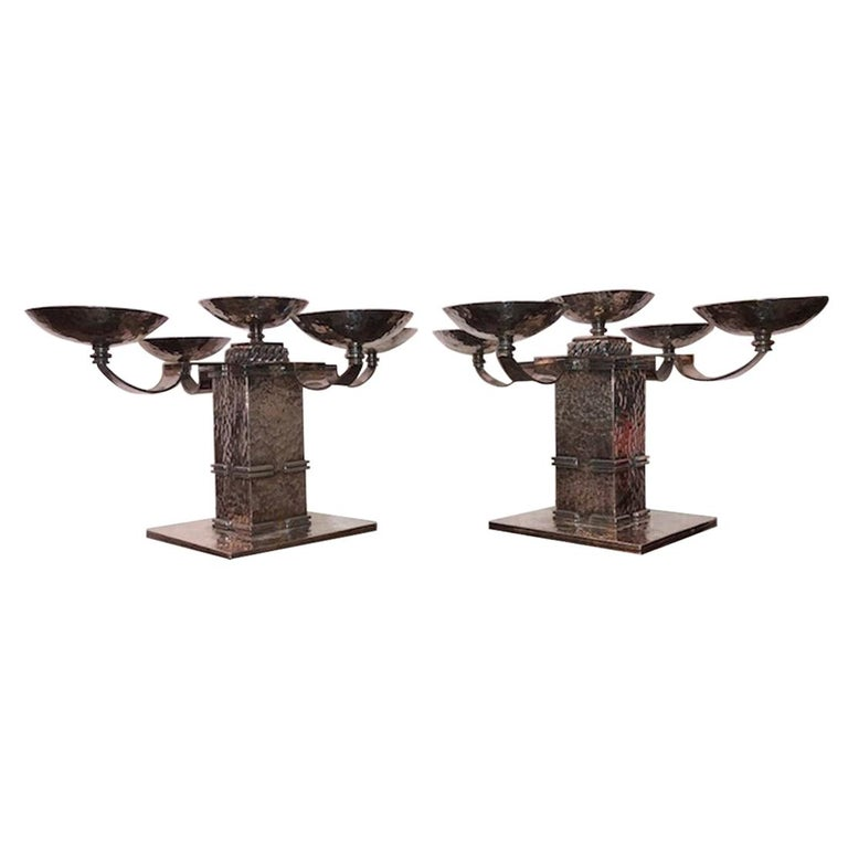 Pair of Candle Holders Done by Jean Despres For Sale