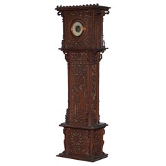 Rare Tall 19th Century Continental Walnut Fret Carved Barometer Oriental